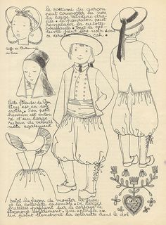Brittany - beautifully drawn and laid out page of traditional costumes