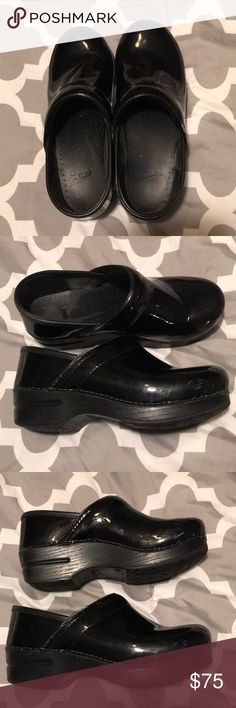Dansko Clogs. Shiny black Dansko clogs. Some scuffs on the side, see pictures. Dansko Shoes Mules & Clogs