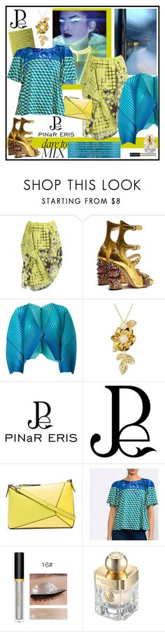 """""""PINaR ERIS (10)"""" by carola-corana ❤ liked on Polyvore featuring Issey Miyake, Gucci, Pleats Please by Issey Miyake, Kate Spade, Loewe, Shanghai Tang, tops, tees, Womens and uniqueprints"""