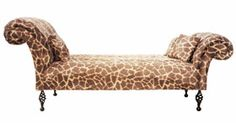 Double Ended chaise (without back) in giraffe print faux fur on black wrought iron legs