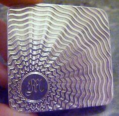 Antique vintage sterling silver Art Deco powder compact