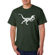 Los Angeles Pop Art Men's T-shirt - Velociraptor, Size: 4XL, Green