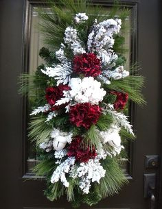 Deluxe Hydrangea Swag, Burgundy and White Christmas Wreath, Frosty Winter Swag, Winter Wreath Truly winter wonderful! Sweet sounding jingles from Christmas Front Doors, Christmas Door Wreaths, Christmas Swags, Christmas Flowers, Holiday Wreaths, Christmas Home, White Christmas, Christmas Crafts, Christmas Displays