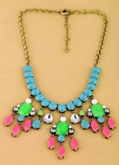 Vintage Multicolor Long Chain Bib Necklace from gigisgirl.com