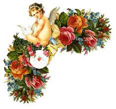 Glanzbilder - Victorian Die Cut - Victorian Scrap - Tube Victorienne - Glansbilleder - Plaatjes : Engel auf Blumenranken - Angel on flower tendrils - Ange sur vrilles de fleurs