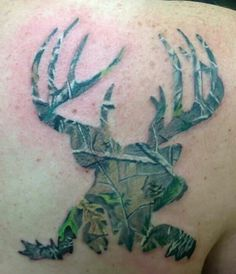 Hunter Tattoo. Camo buck. Done by Brian at B'z Ink Tattoo Shop in Macomb, Michigan. #Camouflage #camo #deer