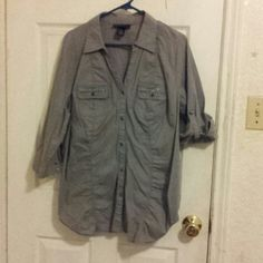 Lane Bryant Top Gray button down with embellished pockets Lane Bryant Tops Button Down Shirts