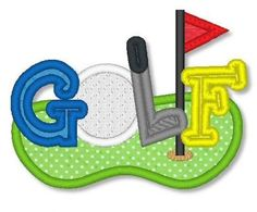 GOLF Applique 4x4 5x7 Machine Embroidery Design putter green  INSTANT Download