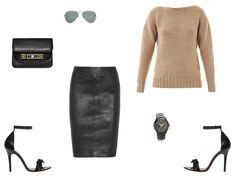 Tomas Maier beige knit, Joseph leather skirt , Ray Ban aviators, Michael Kors watch , Proenza PS11, Isabel Marant sandals. @Lisa Harper AND HARLEY