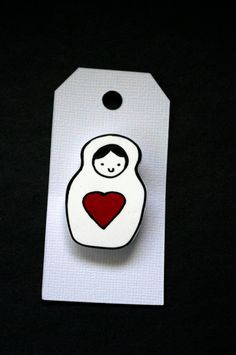 Matryoshka Doll Heart Shrink Plastic Brooch by Cyclop on Etsy, $7.00