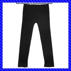 Ladies Black Leggings With Lace  92% Nylon, 8% Spandex 10-12 14-16 18-20