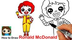How to Draw Ronald McDonald 🍔🥤Clown Kawaii Drawings, Easy Drawings, Drawing Lessons, Drawing Ideas, Waterfall Cards, Cute Clown, Fun Easy Crafts, Marker Paper, Student Drawing