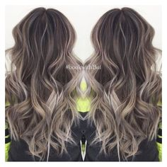 beautiful long dark brown hair with lots of cool tone ash blonde... ❤ liked on Polyvore featuring beauty products, haircare, hair styling tools, hair and hair styles