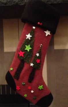 Star Studded Christmas Trees Needle Felted Christmas by KimberlyZ, $79.00