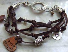 Her Story  Leather Handstamped Silver Copper by BraceletsbyLinda, $50.00