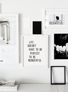 "Printable Typography Inspirational Quote ""Life Doesn't Have to be Perfect to be Wonderful"" Letterpress Poster Style Instant Download"