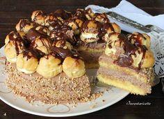 Torta Nocciutella con Profiteroles | Torta nocciole e nutella E' golosissima ed è davvero molto facile da preparare. Non fatevi ingannare dalla presentazio