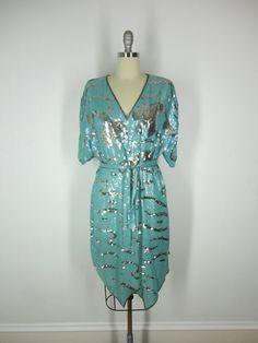 Vintage Beaded Dress / Mint Green Silk / Silver Sequins Beads