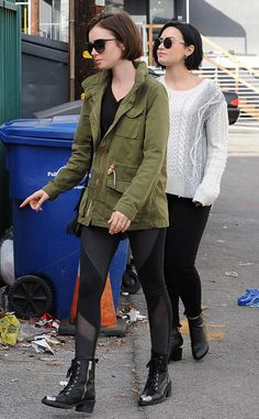 Lily Collins and Demi Lovato leaving La Conversation in Los Angeles after lunching together on January 2016