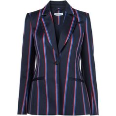 Altuzarra Striped Blazer ($1,795) ❤ liked on Polyvore featuring outerwear, jackets, blazers, blue, stripe jacket, blue striped jacket, striped blazer, blue jackets and blazer jacket