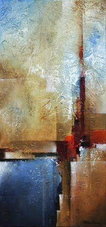 """Mark Yearwood Abstract Art: """"Vertical Horizon"""" Acrylic Palette Knife Painting"""