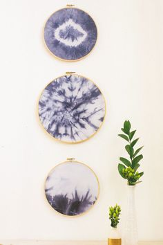 We are working hard on an event installation project for a client, full of 70's styling including these DIY Indigo Embroidery Hoop Wall Hangings...