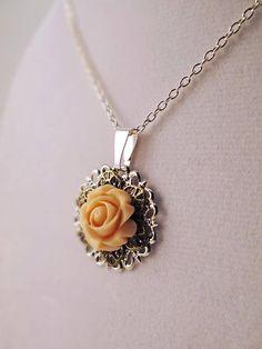Rose filigree pendant Pastel pink rose filigree charm