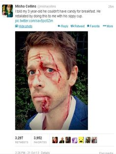 Lesson: Never say no to a toddler that's armed. Poor Misha!!