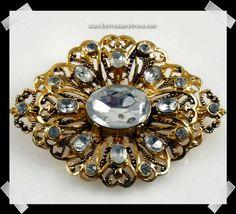 Vintage Rhinestone Pin Antiqued Goldtone by bctreasuretrove, $12.00