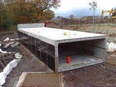 Shay Murtagh Precast Concrete Box Culvert for McLeod Underground Shelter, Underground Garage, Underground Homes, Concrete Forms, Concrete Houses, Precast Concrete, Safe Room, Survival Shelter, Water Storage
