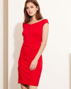 Lauren Ralph Lauren Jersey Off-The-Shoulder Dress - Orient Red 8