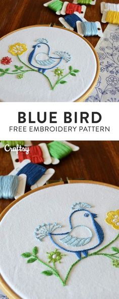 Embroider this cheeky bird inspired by a vintage transfer. Free beginner embroidery pattern!