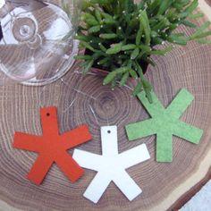 Wool felt asterisk ornaments