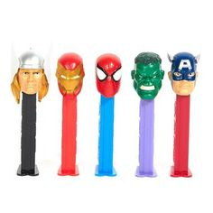 """Have a superhero snack with this Marvel Avengers PEZ Dispenser! Includes 1 assorted PEZ dispenser, our choice please. Each dispenser measures 4.5"""""""" and comes individually wrapped with 3 packs of PEZ f"""