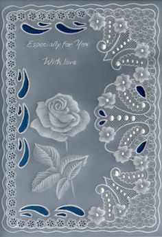 White rose no outline tattoo 3d Cards, Paper Cards, Vellum Papier, Vellum Crafts, Parchment Design, Parchment Cards, Lace Painting, Embossed Cards, Beautiful Handmade Cards