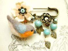 Wool needle felted Robin bird & flower pin / by NozomiCrafts