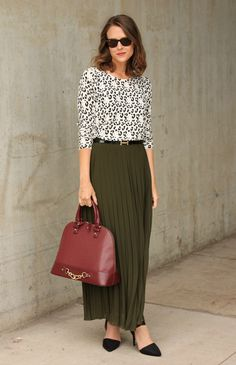 Leopard print sweater + pleated maxi skirt
