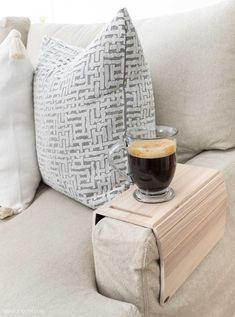 So smart! Converts your couch arm into a table to rest a drink! Great gift! Found on Etsy! Soaker Tub Free Standing, Best Neutral Paint Colors, Driven By Decor, Chalkboard Print, Pillow Texture, White Texture, Wood Shelves, Unique Home Decor, Home Organization