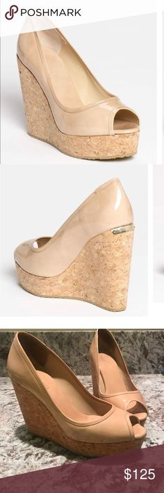 Jimmy Choo Papina Nude Wedge These closet staples make your legs instantly longer. Wear with dresses, jeans or shorts. The color is most similar to the stock photo (first photo). They are in great condition except the back sole has a tiny gap between the cork and the sole which eventually will need to be repaired. I found these shoes to be comfortable and easy to walk in. Jimmy Choo Shoes Wedges