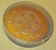 USS NIMITZ COASTER SET 8 GOLD FOIL PAPER PLASTIC CASE LID NAVY SHIP CVN 68