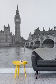 Walk along the River Thames with this beautiful London wallpaper. Ideal for the living room or home office.