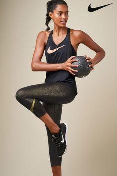 Buy Nike Black/Gold Pro Cool Capri from the Next UK online shop