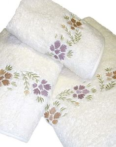 A Touch of Lace Towel Embroidery, Embroidered Towels, Embroidery Monogram, Machine Embroidery, Monogram Towels, Personalized Towels, Monogram Fonts, New Embroidery Designs, Sewing School