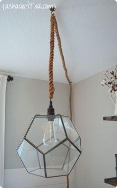 DIY Home Decor   Geometric Pendant Light - made from a terrarium!