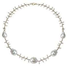 """PearlAura 18 Karat Linked Gold Over Sterling Silver 12-15mm Baroque Cultured Freshwater Pearl Station Necklace 18"""", Women's"""