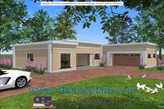Overall Dimensions- x 2 Car Garage Area- Square meters Round House Plans, Free House Plans, House Plans With Photos, Simple House Plans, House Layout Plans, Modern House Plans, House Layouts, Flat Roof Design, Flat Roof House Designs