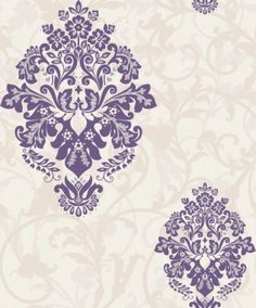 Arabesque (M0550) - Crown Wallpapers - A mid scaled floral damask motif overlaid on a textured background with a pretty raised matt and gloss leaf trail. Showing in damson purple on soft cream white with silver highlights. Other colour ways available. Please request a sample for true colour ma