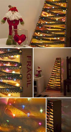 Casa de Colorir: Natal tropical arvore de natal de caixa de papelao