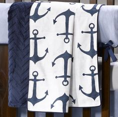 Navy Anchors Baby Blanket by Liz and Roo Fine Baby Bedding