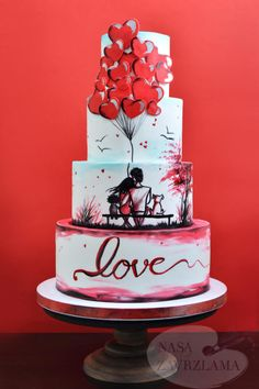 Silhouette Wedding Cake by Nasa Mala Zavrzlama - http://cakesdecor.com/cakes/286116-silhouette-wedding-cake